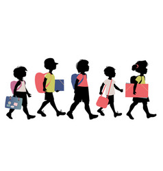 group of kids silhouettes with backpacks vector image