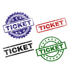 Grunge textured ticket seal stamps vector