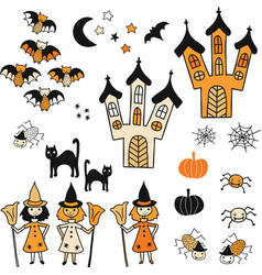 halloween icon set cute hand drawn vector image