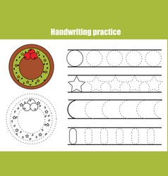 handwriting practice sheet educational children vector image
