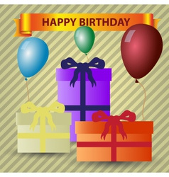 happy birthday theme with gifts and balloons eps10 vector image vector image