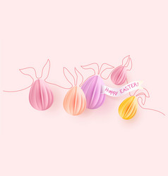 Happy easter card paper eggs with rabbit ears vector