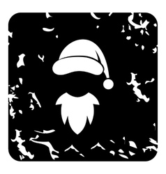 Hat with pompom and beard of Santa Claus icon vector