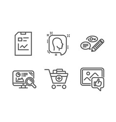 Head seo analytics and add products icons set vector