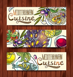 Horizontal banners with mediterranean food on the vector