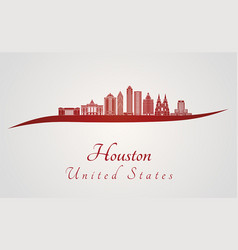 houston v2 skyline in red vector image