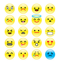 icons of smiley faces emotion cartoon vector image