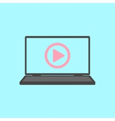 Laptop with play icon vector