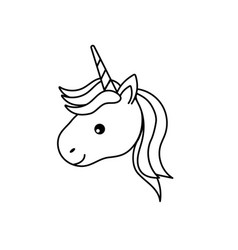 Line cute unicorn head with horn and hairstyle vector