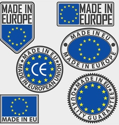Made in Europe label set with flag made in EU sign vector