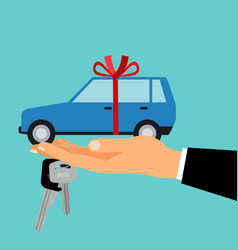 Man hand holding gift car vector
