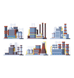 manufacturing plants factories colorful flat vector image