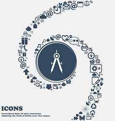 Mathematical Compass sign icon in the center vector
