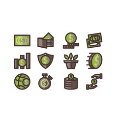 money template flat icon set vector image