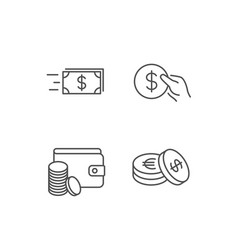 Money transfer cash and wallet icons hold coin vector