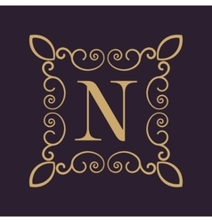Monogram letter N Calligraphic ornament Gold vector