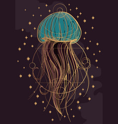 most jellyfish poster the inhabitants of the deep vector image