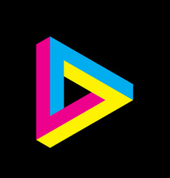 Penrose triangle icon in cmyk colors geometric 3d vector