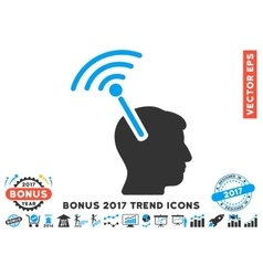 Radio neural interface flat icon with 2017 bonus vector