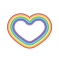 Rainbow icon heart realistic vector