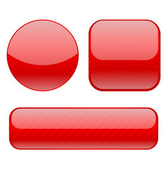 red buttons collection of shiny 3d icons vector image