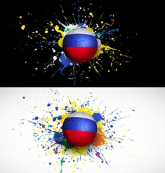 Russia flag with soccer ball dash on colorful vector