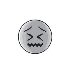 Sad cartoon face negative people emotion icon vector