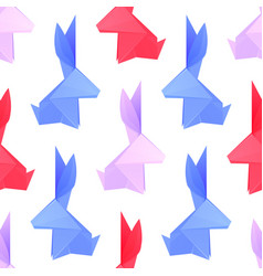seamless pattern with multicolored paper origami vector image