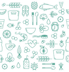 seamless pattern with nutrition and health vector image