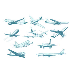 Set aircraft air transport isolate on white vector