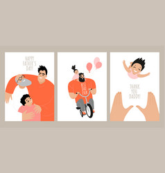 set fathers day greeting card templates vector image