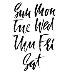 set of days of a week handdrawn lettering vector image