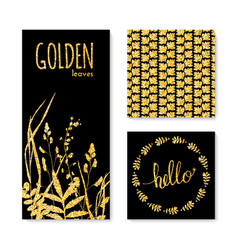 Set of glitter golden leaves banner frame and vector