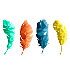 set of isolated feathers in low poly graphics vector image