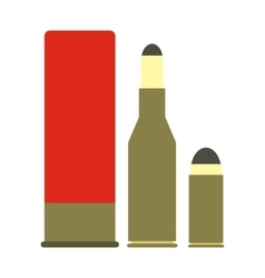 Shotgun shell and bullets icon vector