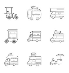 street food truck icons set outline style vector image