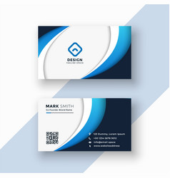 stylish blue wave business card design template vector image