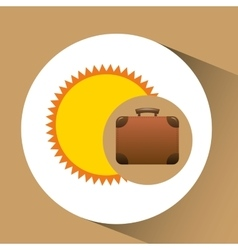 Suitcase retro sun concept travel design graphic vector