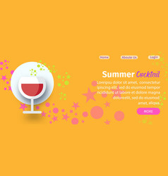 summer cocktail party website flat template vector image