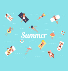 Summer swimming pool season background people vector