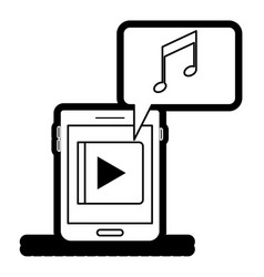 tablet device music app and dialogue box in black vector image