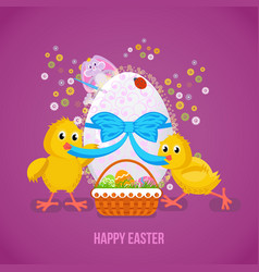 Two nestlings untie the tape on the easter egg vector