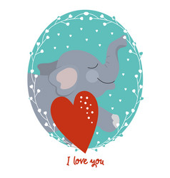 valentines day card with elephant vector image