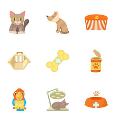 Veterinary icons set cartoon style vector