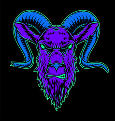 vintage angry goat head colorful concept vector image