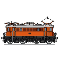 Vintage orange electric locomotive vector