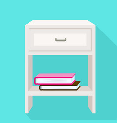 White nightstand icon flat style vector