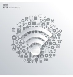 Wi-fi icon Flat abstract background with web vector