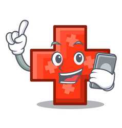 with phone cross character cartoon style vector image
