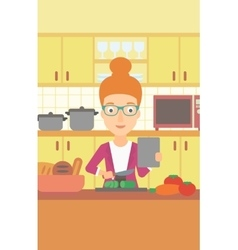 Woman cooking meal vector